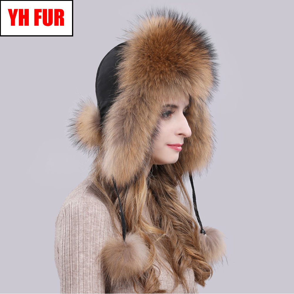 2019 Hot Sale Women Natural Fox Fur Russian Ushanka Hats Winter Thick Warm Ears Fashion Bomber Hat Lady Genuine Real Fox Fur Cap-in Women's Bomber Hats from Apparel Accessories on AliExpress