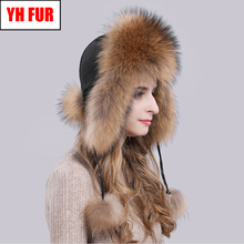 2020 Hot Sale Women Natural Fox Fur Russian Ushanka Hats Winter Thick Warm Ears Fashion Bomber Hat Lady Genuine Real Fox Fur Cap