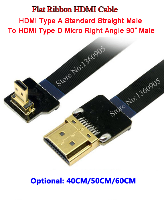 40CM/50CM/60CM Ultra Thin HDMI Cable Type D Micro Right Angle 90 Degree To HDMI Type A Straight Flat Ribbon Cable FPV