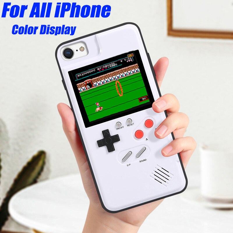 Pantalla a Color 36 clásico juego caja del teléfono para iPhone X XS X Max XR 6 7 8 Plus consola de juego Niño suave TPU funda de silicona IPXM9