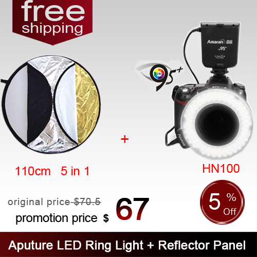 Aputure HN100 CRI 95+ Amaran Halo LED Ring Flash light  For Nikon with 110CM 43 5in1 Round Photography Light Reflector Panel aputure 16 channel flash speedlite
