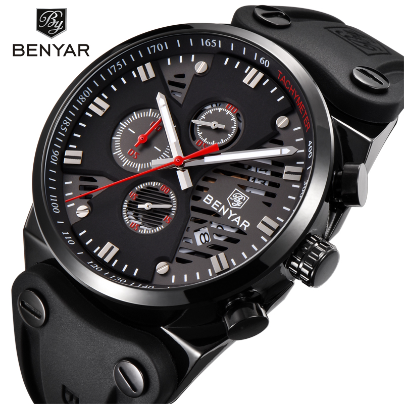 все цены на BENYAR Top Brand Luxury Men Watch Men Watches Male Clock Casual Quartz Wristwatch Leather Military Waterproof Clocks Sport Clock