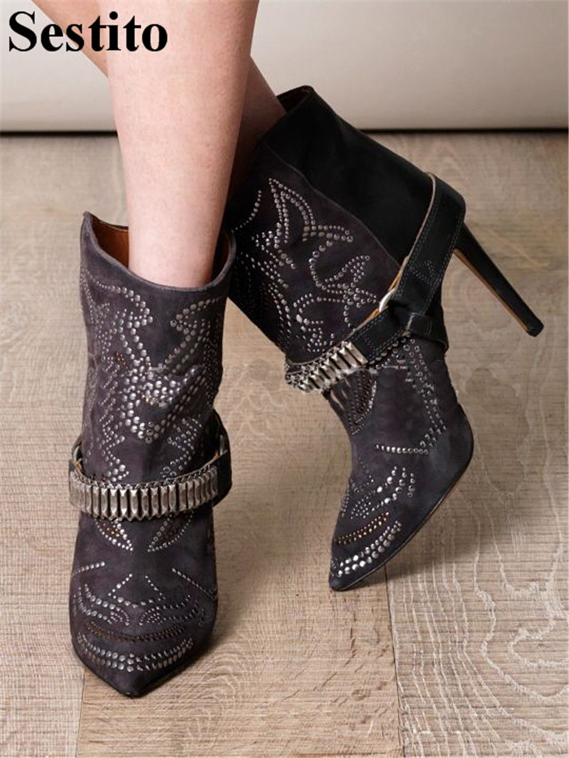 Fashion Black Crystal Flock Patchwork Boots Pointed Toe Ankle Boots For Women Slip-on Thin Heels Short Boots Autumn Women ShoesFashion Black Crystal Flock Patchwork Boots Pointed Toe Ankle Boots For Women Slip-on Thin Heels Short Boots Autumn Women Shoes
