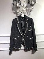 2017 Spring New Woman Fashion Luxury Woman Gorgeous Black Twill Tweed Blazer With pockets