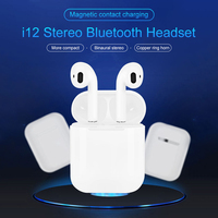 i12 Bluetooth Earphone For iPhone Android Phone Wireless Touch Control Earbuds 3D Surround Sound & Charging Case Single Ear Call