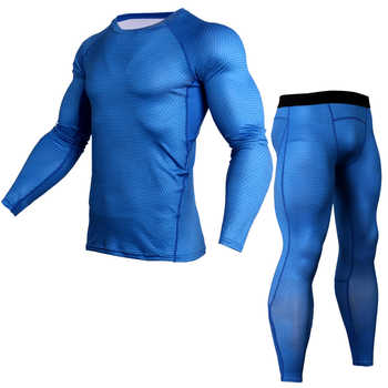 Men T shirts Trousers Set 2 Piece Men\'s Sportswear Compression Suit Joggers Fitness Base Layer Shirt Leggings Rashguard Clothes
