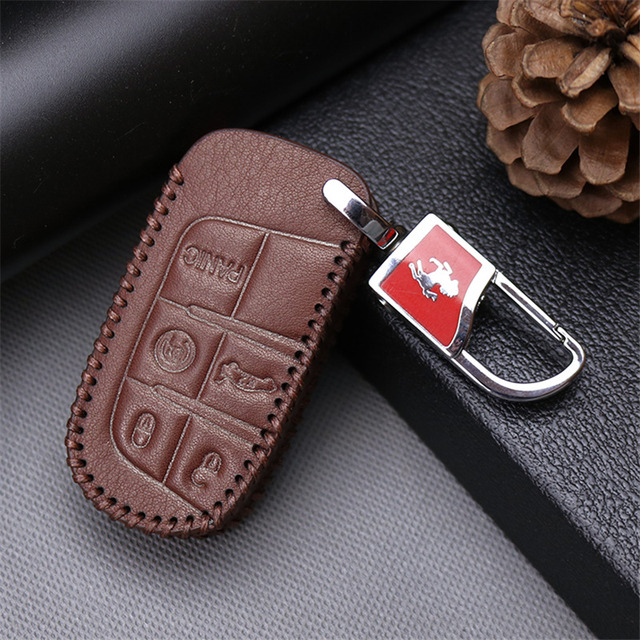Us 8 98 49 Off Genuine Leather Car Key Cover Case For Fiat 500 Panda Stilo 500x Grande Punto Bravo For Dodge Ram For Jeep Key Protective Shell In