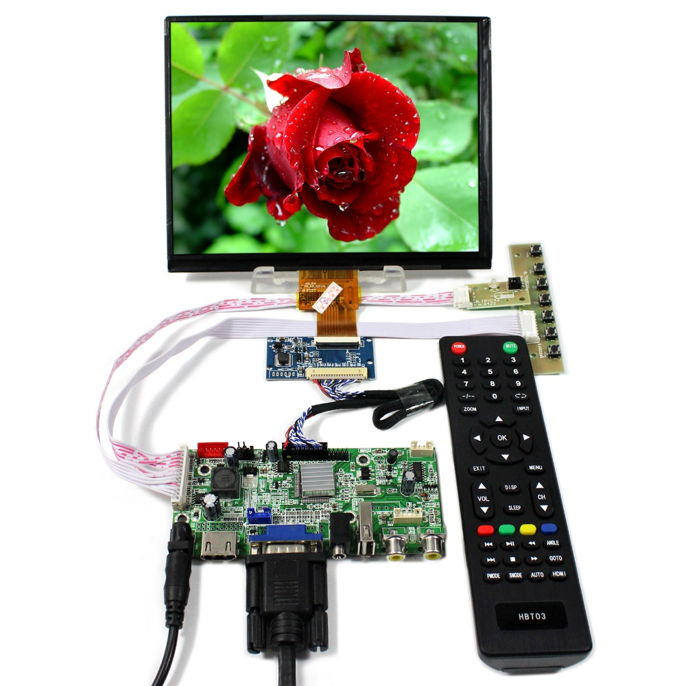HDMI+VGA+AV+Audio+USB LCD Controller Board 8inch 1024x768 HJ080IA-01E IPS LCD Screen hdmi vga av audio usb control board 8inch hj080ia 01e 1024 768 ips lcd panel screen model lcd for raspberry pi