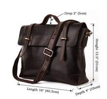 Genuine Leather Men's Briefcase Laptop Handbag JMD Messenger Bag # 7082C