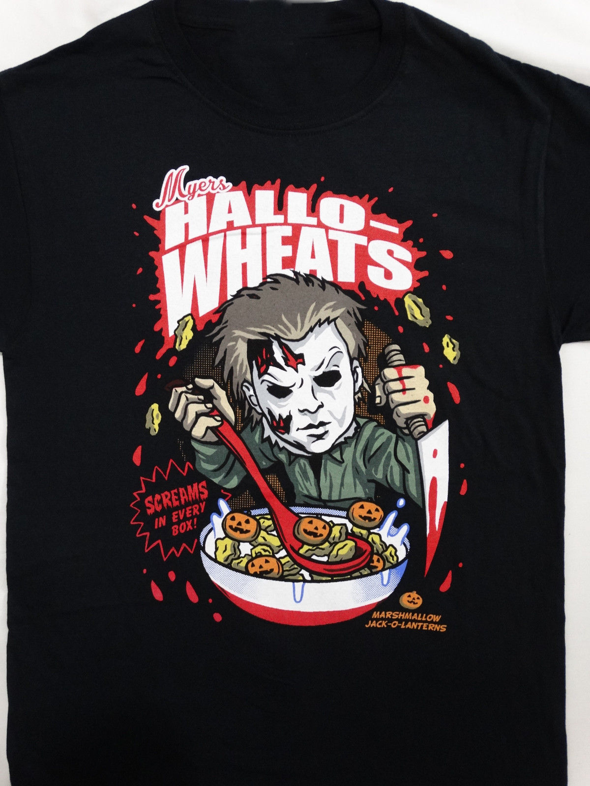 Michael Myers Halloween Hallo-Wheats Cereal T-Shirt T-Shirt Summer Style Men T Shirt Top Tee 2018 100% Cotton Plus Size