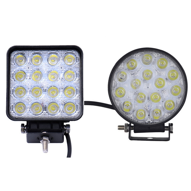 10PCS 4 Inch 48W DC 12V 24V Car LED Work Light Lamp Beam Offroad Boat Car Motorcycle SUV Night Driving Lighting Square Round