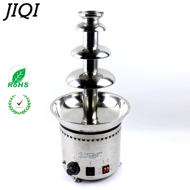 JIQI 110 V/220 V Commercial ménage quatre niveaux chocolat fontaine fondue Choco cascade pour fête mariage anniversaire festival