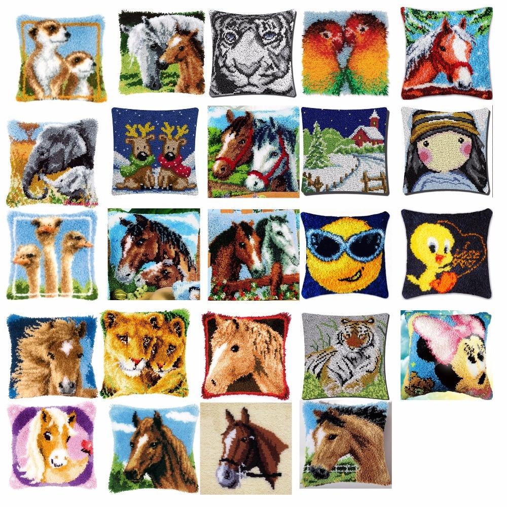 horse Cushion Latch Hook Kit Pillow Mat DIY Craft Flower 42CM 42CM Cross Stitch Needlework Crocheting Cushion Embroideryhorse Cushion Latch Hook Kit Pillow Mat DIY Craft Flower 42CM 42CM Cross Stitch Needlework Crocheting Cushion Embroidery