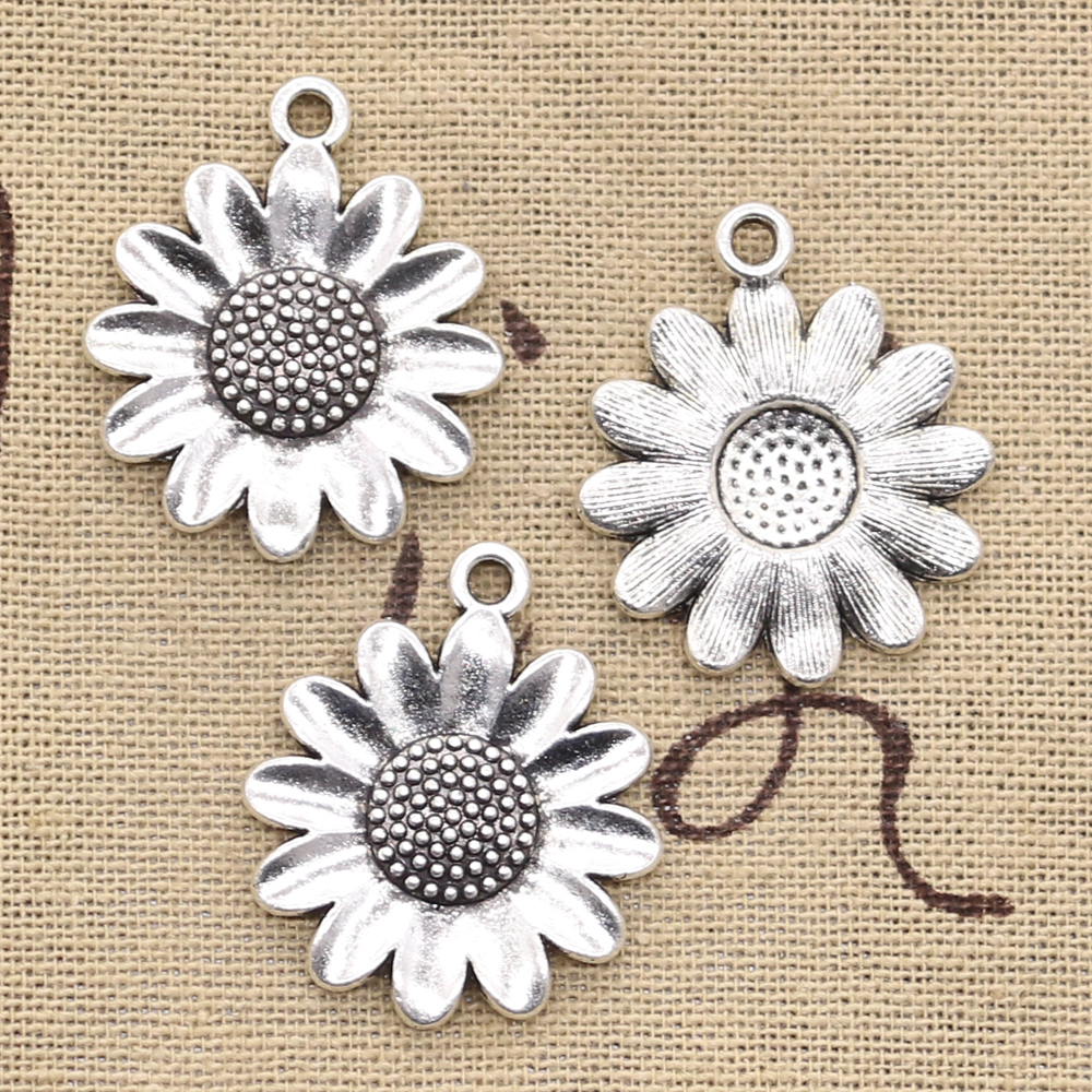 8pcs Charms Sunflower Flower 30x26mm Antique Bronze Silver Color Pendants Making DIY Handmade Tibetan Bronze Jewelry