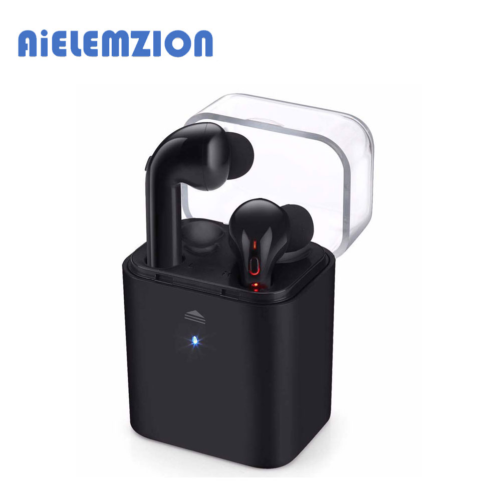 AiELEMZION  Fun7 Invisible True Wireless Bluetooth Earphone with Microphone Mini TWS Bass Stereo Cordless with Charging Box 2017 scomas i7 mini bluetooth earbud wireless invisible headphones headset with mic stereo bluetooth earphone for iphone android