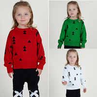 1-5Y Meninas Blusas Teste Padrão Do Natal Do Bebê Crianças Blusas Quentes Macios Longo Manga O Pescoço Blusas de Inverno Para A Menina