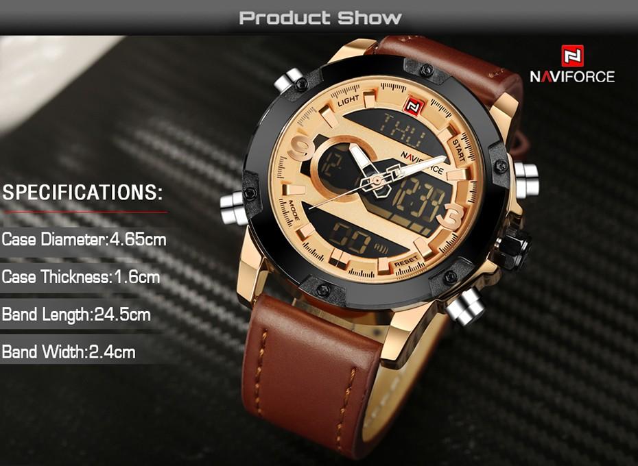 Top Luxury Brand NAVIFORCE Men Sport Watches Men's Quartz LED Analog Clock Man Military Waterproof Wrist Watch relogio masculino 3