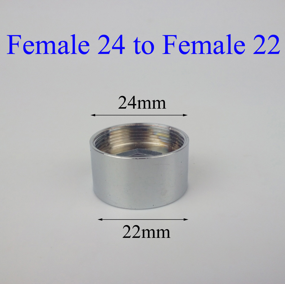 Female 24 to Female 22 chromed brass faucet adapter-in Kitchen ...