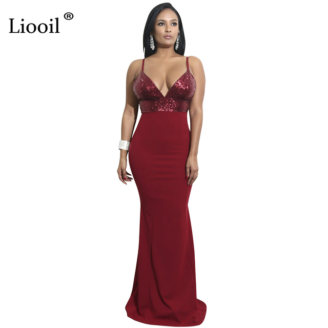cedcadbd508 Liooil Black Wine Red Sequin Party Dress Sexy Spaghetti Strap V Neck  Bodycon Maxi Dress Backless Elegant Club Women Long Dresses