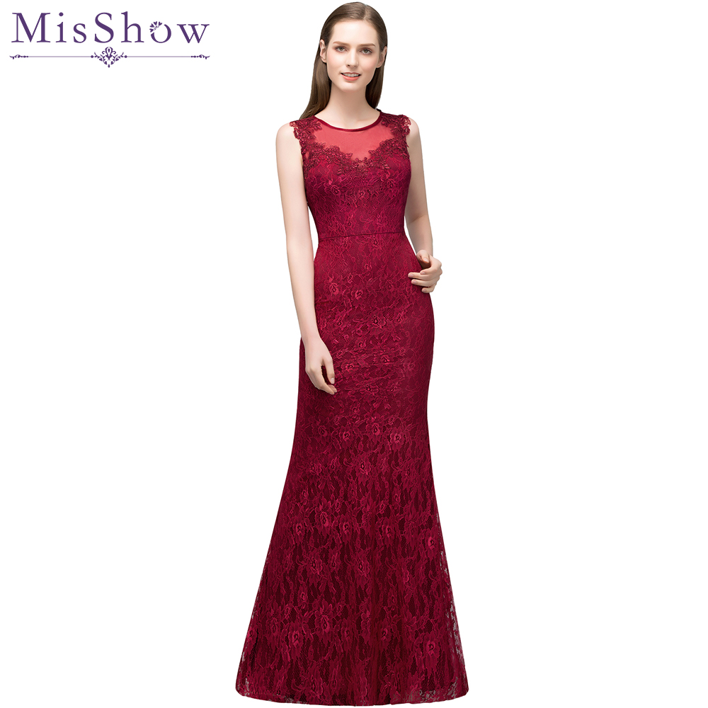 Elegant Lace Mermaid Long   Evening     Dress   2019 Simple Wine Red Backless Occasion Formal Gown Party   Dresses   Robe De Soiree Longue