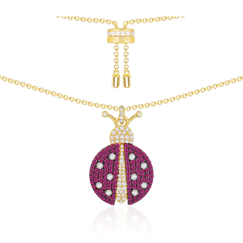 SLJELY 925 Sterling Silver Yellow Gold Color Red Ladybug Pendant Necklace Pink Cubic Zirconia Women Monaco