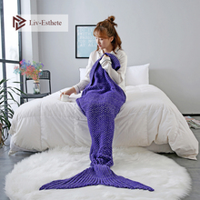 Liv-Esthete Dark Blue Mermaid Tail Blanket Throw Blanket Sofa Bed Sleeping Bag Wrap Knitted Blanket For Adult Kids Best Gift winter sleeping bag bed throw wrap mermaid blanket