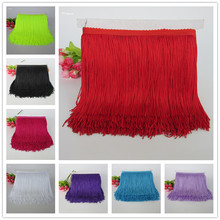 YY-tesco 5Yards 15cm Wide Lace Fringe Trim Tassel Trimming For DIY Latin Dress Stage Clothes Accessories Ribbon