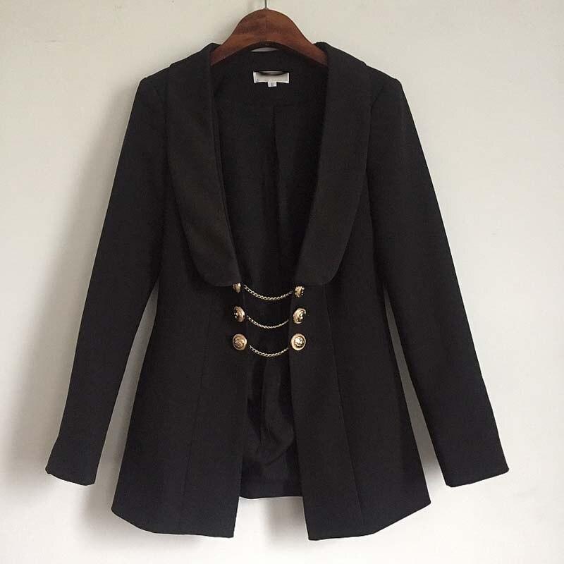 Automne hiver mode 2019 mode piste concepteur noir veste femmes or Lion bouton chaîne lien vestes pardessus extérieur vêtements