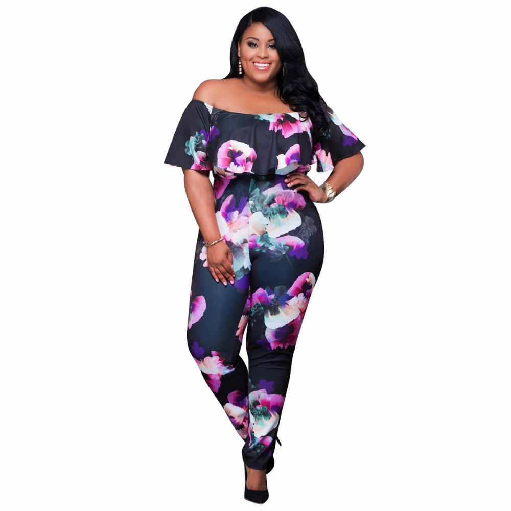 Plus Size Jumpsuits And Rompers For Women Ruffled Frill Off Shoulder
