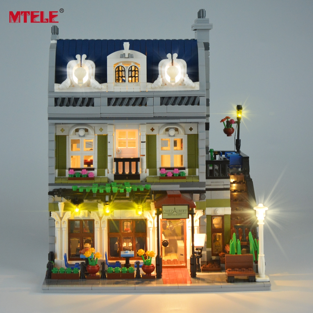 MTELE di Marca HA CONDOTTO LA Luce Up Kit Giocattolo Per Il Creatore Esperto di Strada di Città Ristorante Parigino Compatile con Lego 10243