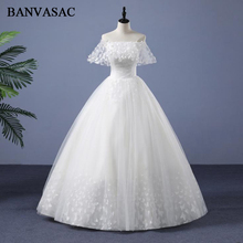 BANVASAC 2018 Boat Neck Real Photos Lace Ball Gown Wedding Dresses Elegant Flowers Short Sleeve Backless Bridal Gowns