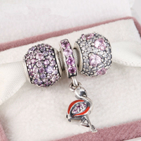 Fits Pandora Charms Bracelet and Necklace 925 Sterling Silver Charm Sets Sparkling Lovely Beads Women DIY design Drop Shipping