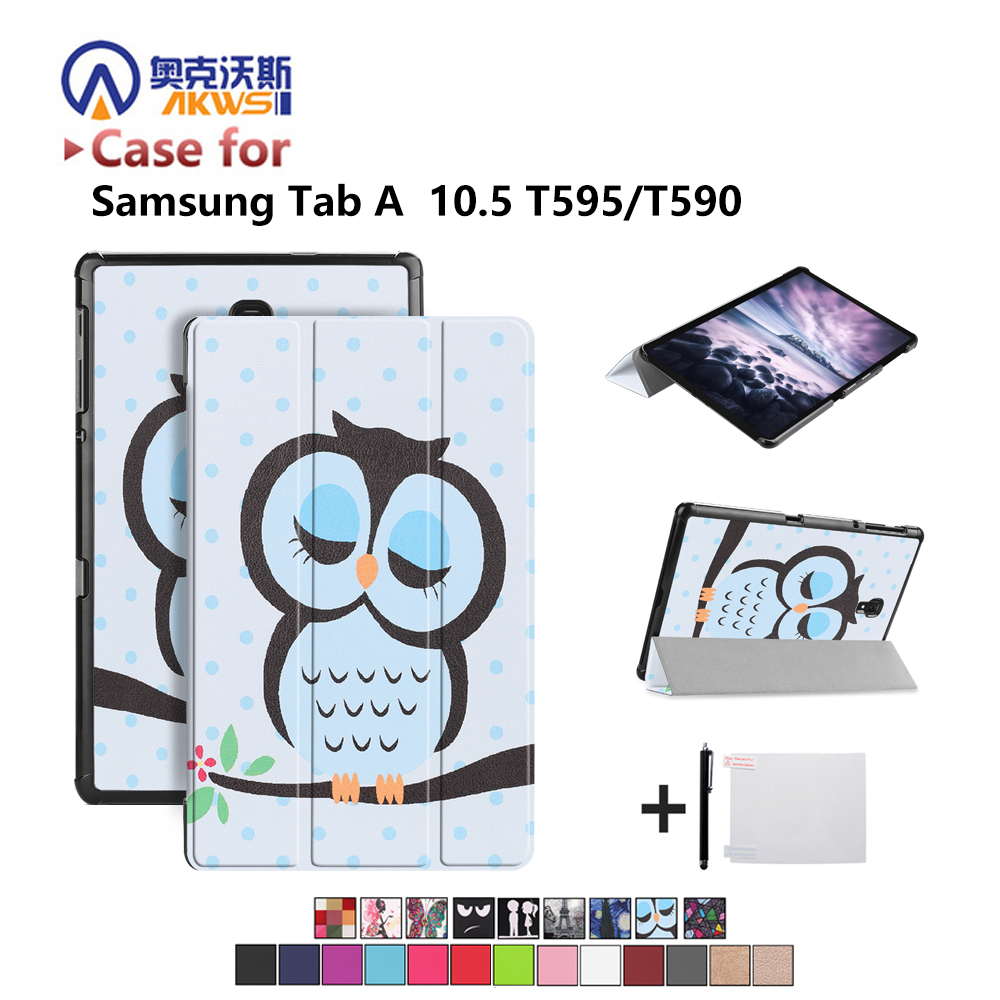 Tablet Case For Samsung Galaxy Tab A 10.5'' SM-T590 SM-T595 T590 T595 Stand Case For 2018 Release Tab A2 10.5 PC Auto+gift
