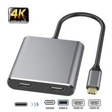 Adaptador hdmi tipo c 4k, adaptador usb c para dual hdmi, usb 3.0 pd, cabo conversor de porta de carregamento USB C para macbook samsung dex galaxy s10/s9