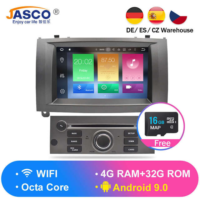 Android 9.0 8.0 9.1 Car DVD Player GPS Glonass Navigation for Peugeot 407 2004-2010 4GB RAM 32GB ROM Multimedia Radio Stereos