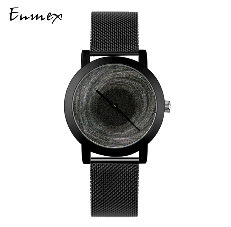 2018 Enmex Creative Design Neutral Wristwatch Moonscape 3D Black Hole Simple Face Mysterious Fashion Quartz Lady Watches