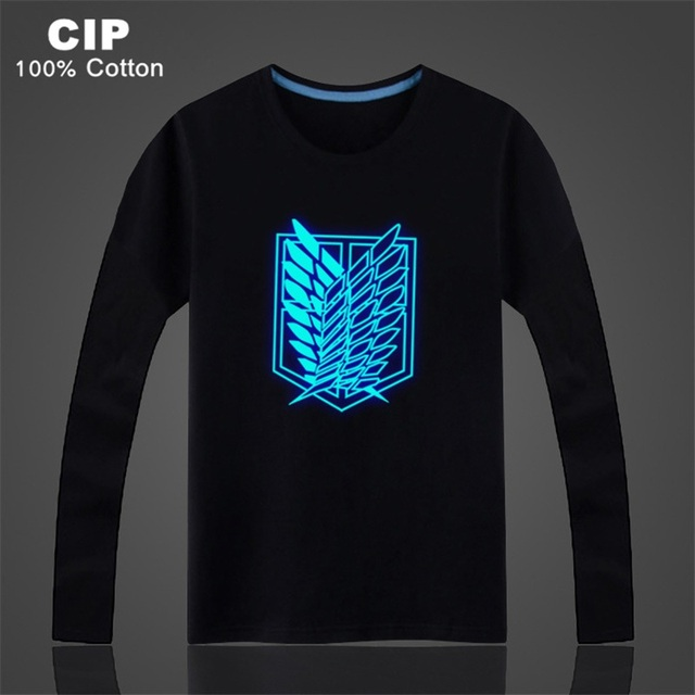 926d0115 US $10.03 29% OFF Lucky Child Glow Dark Children Clothing Attack on Titan  Shirt Girls Clothes AOT Blusas Children's T shirt for Girls Long Sleeve-in  ...
