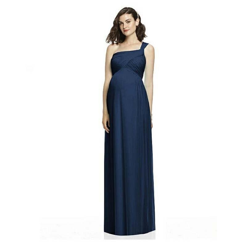 2016 new long chiffon navy blue maternity dress a line one for Navy blue maternity dress for wedding