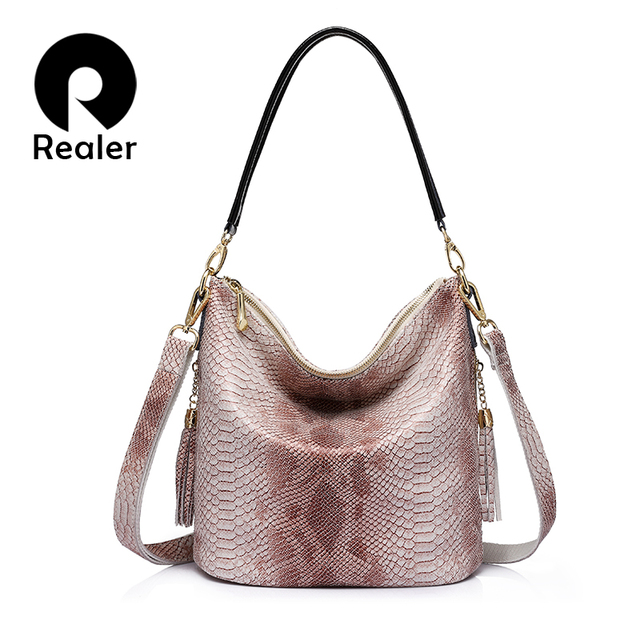 019ae039a76c REALER brand new design women genuine leather handbags serpentine pattern  shoulder bag female casual crossbody bags