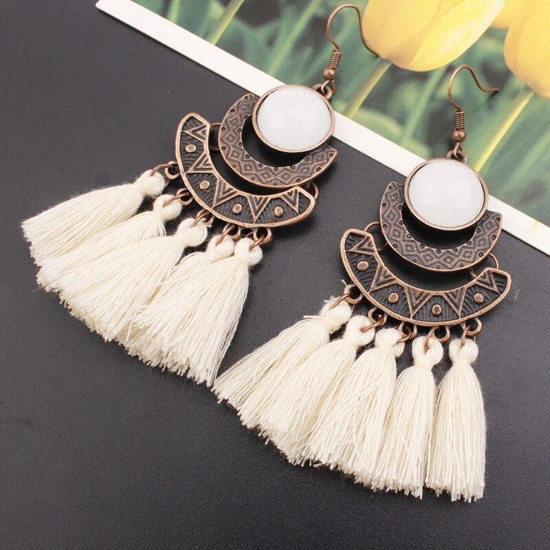 84170be3d11c55 Bohemian Crystal Tassel Drop Earrings for Women Female Fashion Ethnic Long  Red Black Fringe Dangle Earring