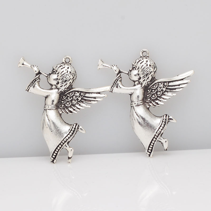 Antique Silver Lovely Guardian Angel Charms Metal Alloy Angel Charms Fit Pendants Jewelry Making 8pcs 44*49mm 8255