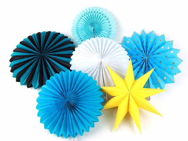 6pcs Set Blue Themed Birthday Parties Party Supplies Origami Paper Fan Wedding Home Crafts Decorations