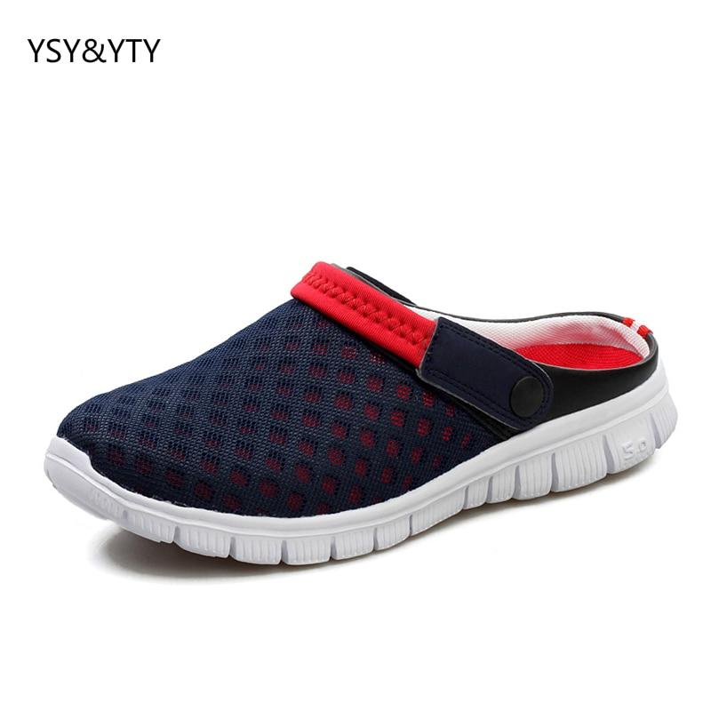 2019 нови летни мъжки полу-хладни чехли мъжки нехлъзгащи се обувки на плажа мързеливи педал обувки двойка дишащи окото обувки  t