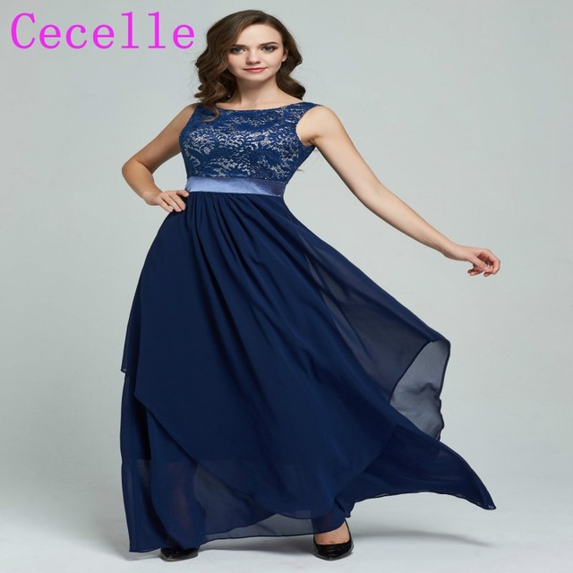 2017 Real Long Navy Blue Modest Bridesmaid Dresses Sleeveless Lace Chiffon Country Wedding Guests Rustic