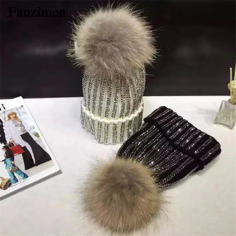 Women s Pompoms Fur Winter Round Rhinestones Cotton Caps Female Beanies Hat Real Natural Raccoon Warm