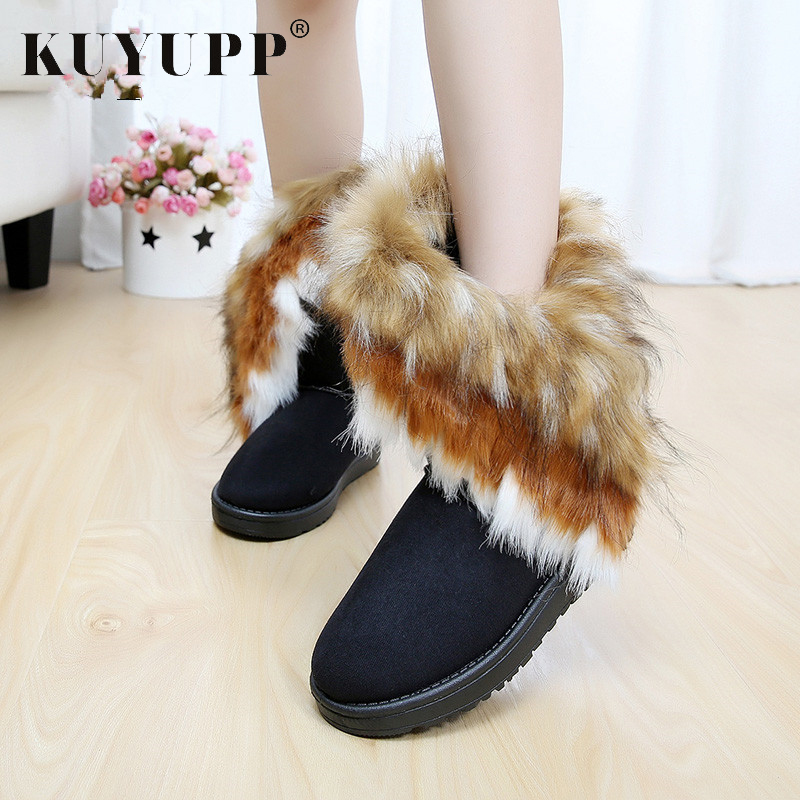 KUYUPP Women Flat Ankle Snow Boots Fur Boots Winter Warm Snow Shoes Round-toe Female Flock Leather Women Shoes DX910 2017 thickened graffiti zippers women short snow boots female cotton winter shoes fashion design warm flock page 2