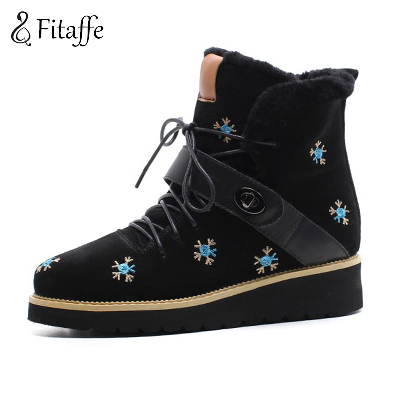 Fitaffe Winter Warm Fur Snow Boots Fashion Lacing Women's Winter Botas Mujer Casual Waterproof Shoes Woman Wedges Botas GD062 2017 women shoes snow boots waterproof fur warm winter mid calf boots woman with zippers platform wedges high heel botas mujer