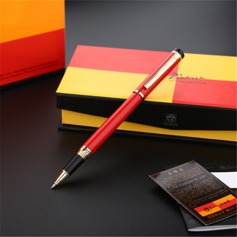 1pc/lot Picasso Red Pens 908 Roller Ball Pen Pimio Picasso Gold Clip Canetas Pen School Supplies 0.5mm 13.9*1.3cm 1pcs lot free shipping picasso fountain pen 986 pimio picasso pens for women girls gifts 5 colors white red brand pen not box
