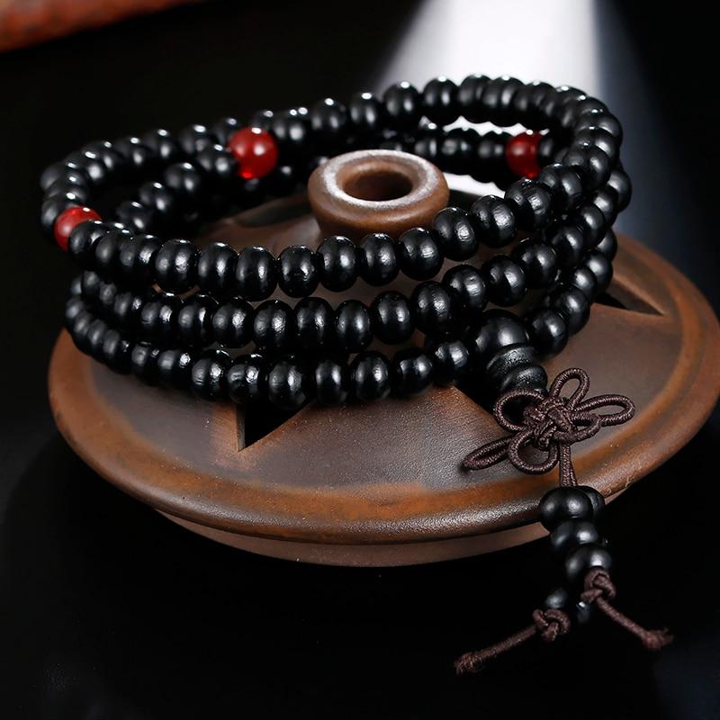 Image 3 - Natural Sandalwood Buddhist Buddha Prayer Bracelets Prayer Bead  Mala 108 Beaded 6mm Stretch Women Men Bracelets