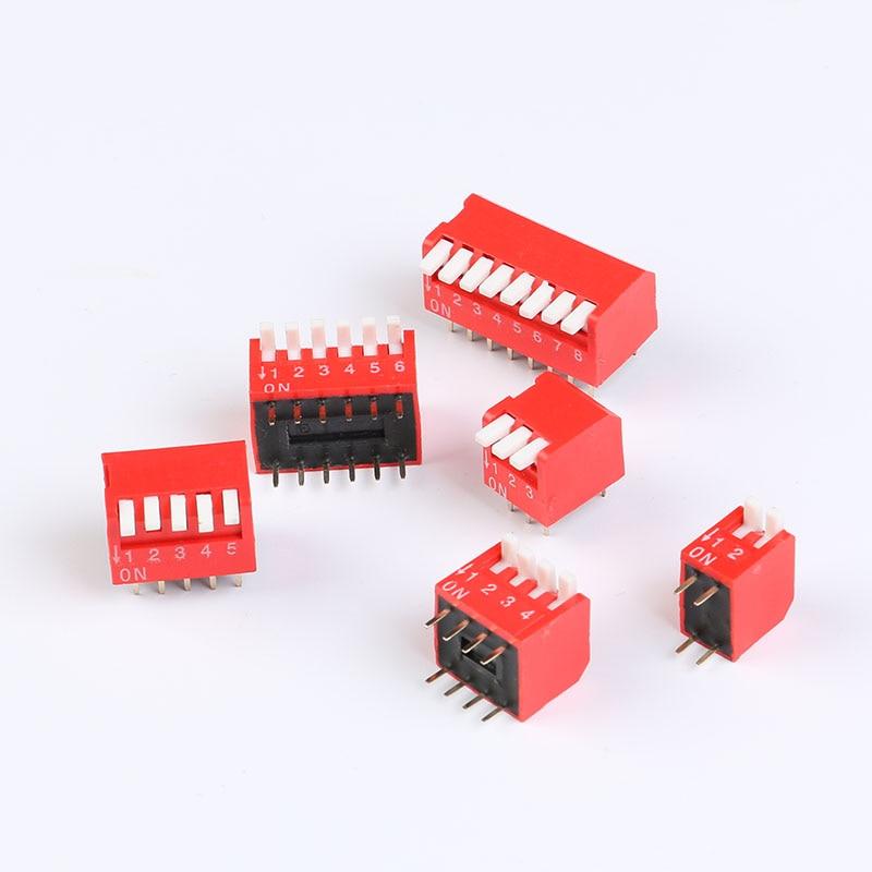 5PCS Slide Type Switch Module 2.54mm 8-Bit 8 Position Way DIP Red Pitch